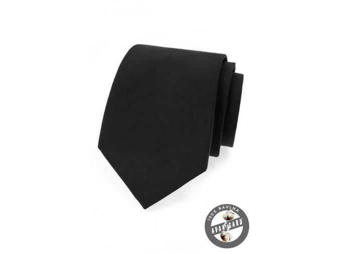 Černá jednobarevná luxusní pánská kravata