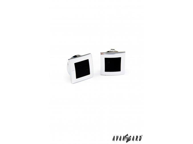 Stříbrné lesklé manžetové návleky na knoflíčky s černým detailem
