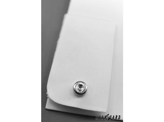 Pánská čistě bílá košile, krytá léga, na manžetové knoflíčky 670-1