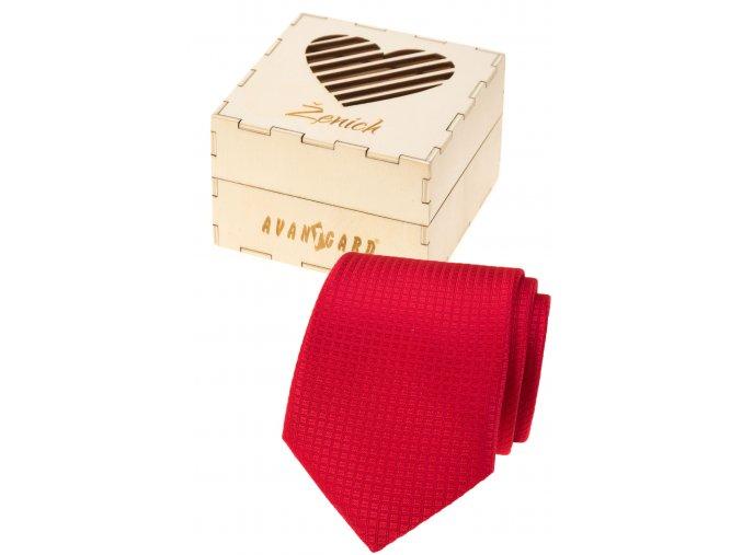 Červená pánská kravata v dřevěné dárkové krabičce – Ženich
