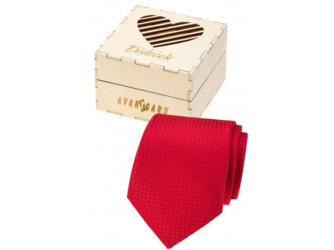 Červená pánská kravata v dřevěné dárkové krabičce – Dědeček