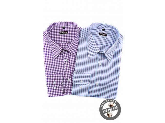 Pánská světle modrá luxusní košile s fialovými a modrými pruhy SLIM FIT dl.rukáv 113-159