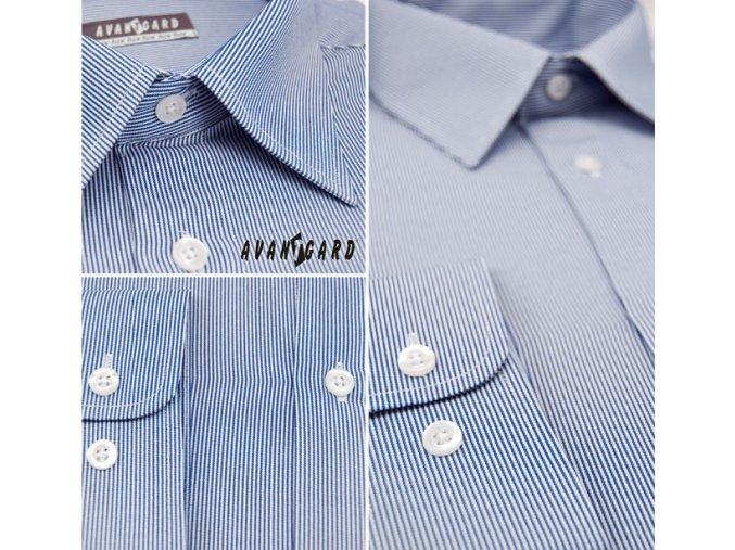 Pánská modrá luxusní košile s jemnými proužky SLIM FIT dl. ruk. 120-3101