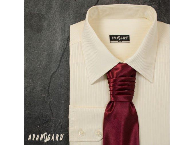Pánská smetanová luxusní košile s jemnými proužky SLIM FIT dl. ruk. 121-1103