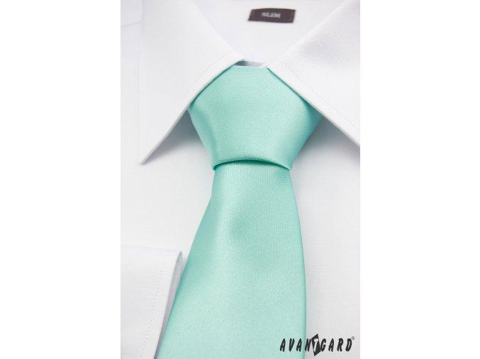 Světle tyrkysová jednobarevná jemně lesklá kravata