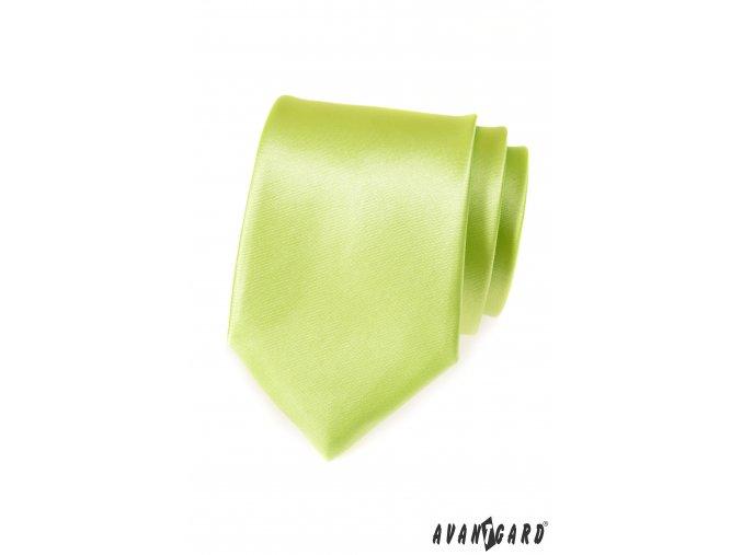 Zářivě limetková jednobarevná lesklá kravata