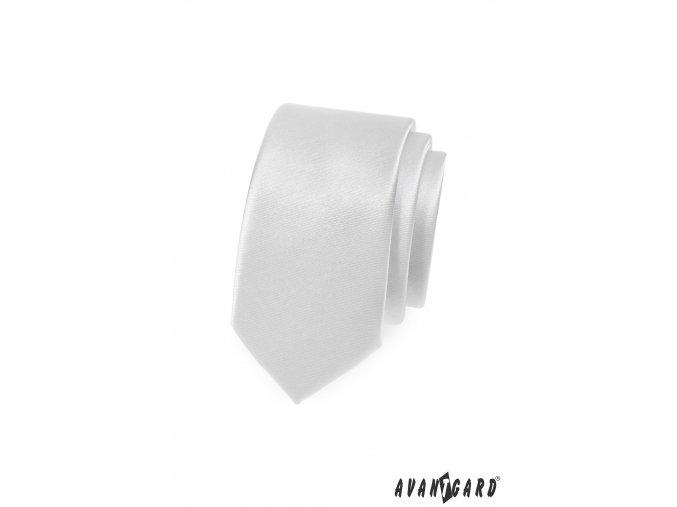 Bílá jednobarevná jemně lesklá SLIM kravata