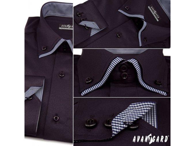 Pánská tmavě modrá luxusní košile s kombinovaným límečkem dl. ruk. 526-3101