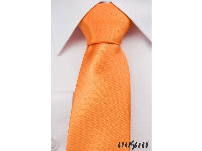 Sytě oranžová jednobarevná jemně lesklá kravata _
