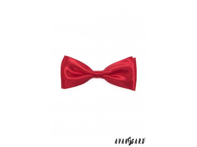 Zářivě červený pánský jemně lesklý motýlek bez vzoru