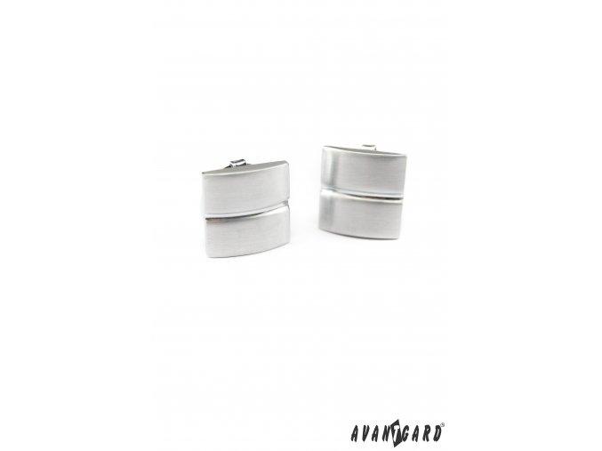 Stříbrné matné manžetové návleky na knoflíčky s jedním pruhem