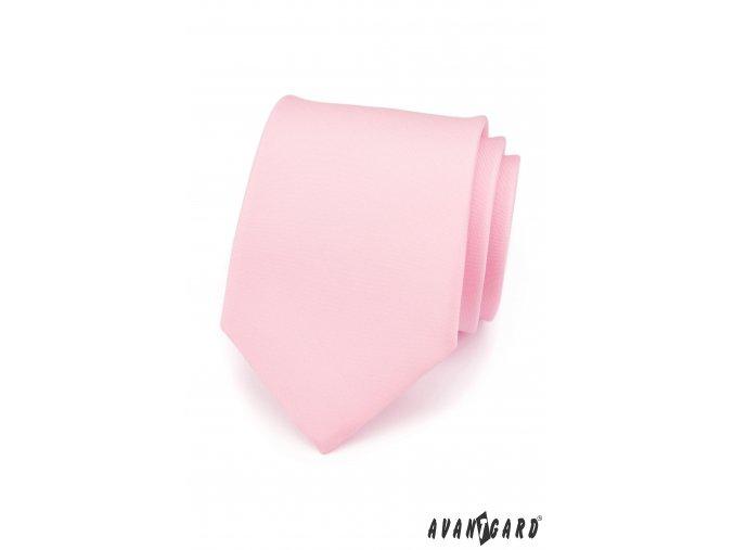 Velmi světle růžová matná kravata