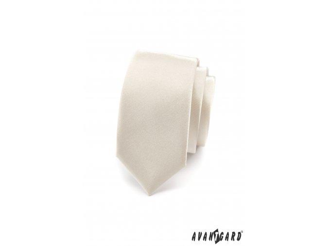 Smetanová luxusní SLIM kravata