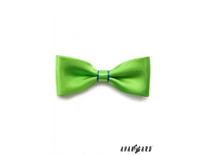 Zářivě zelený motýlek s modrým proužkem