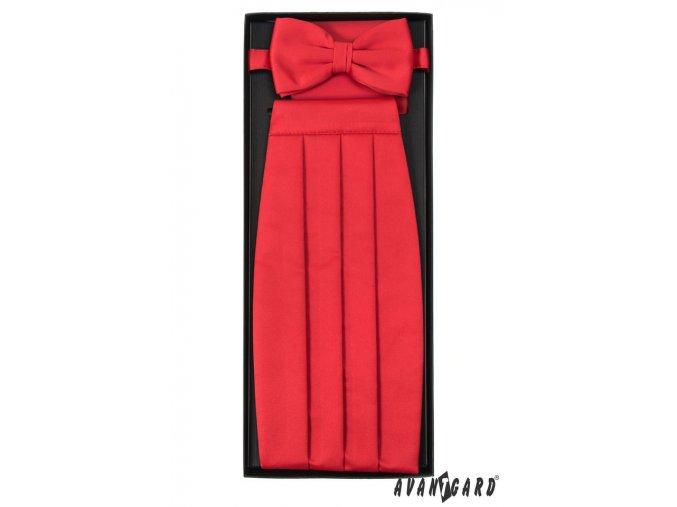 Zářivě červený frakový pás s motýlkem + kapesníček
