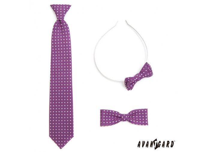 Fialová chlapecká kravata s puntíky