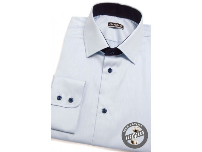 Pánská košile SLIM dl.rukáv 109-4931 Modrá (Barva Modrá, Velikost 45/182, Materiál 100% bavlna)