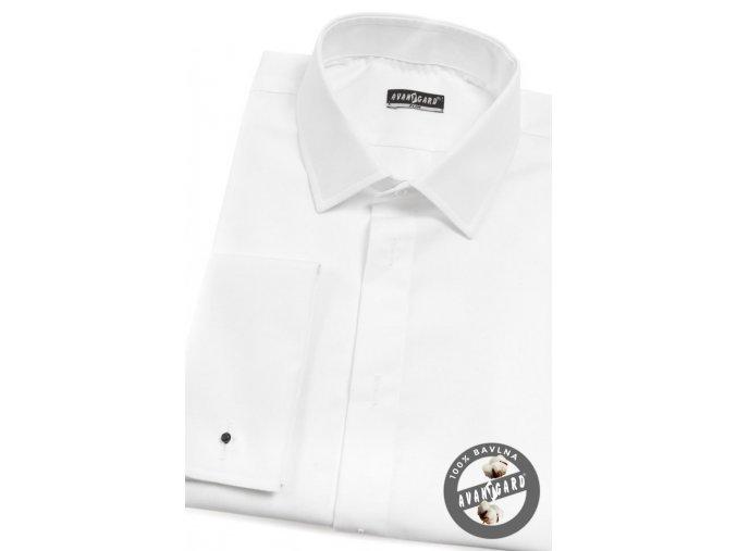 Pánská smokingová košile SLIM - krytá léga, MK 105-01 Bílá (Barva Bílá, Velikost 43/182, Materiál 100% bavlna)