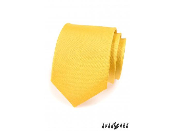 Žlutá matná kravata_