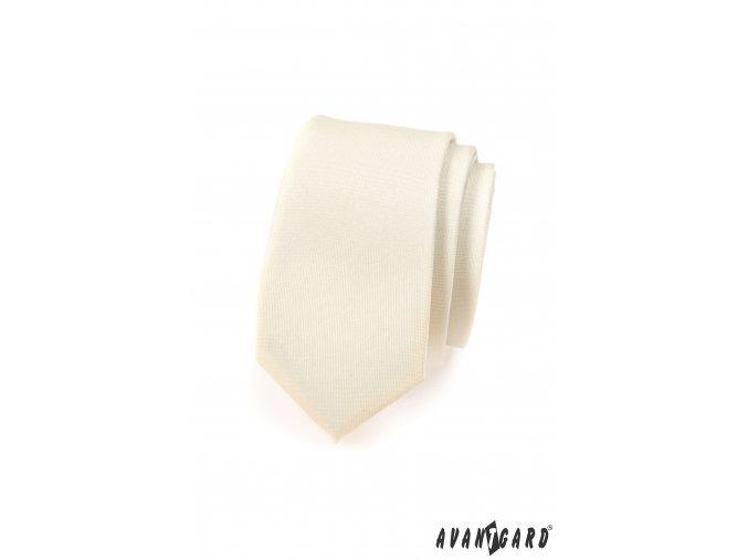 Smetanová SLIM matná kravata