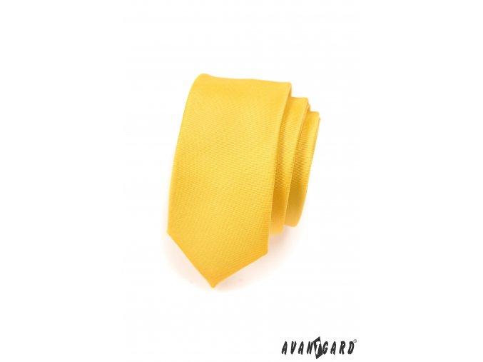 Žlutá SLIM matná kravata