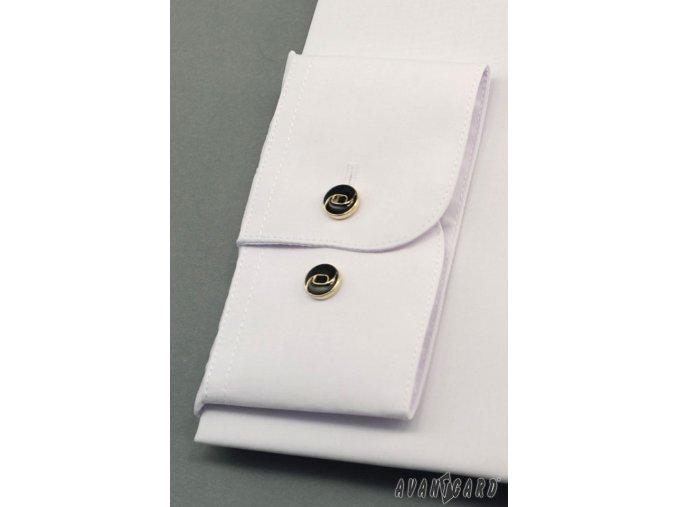 Bílá pánská košile se stojáčkem na 2 knoflíky, dl.rukáv, 452-1 V1_