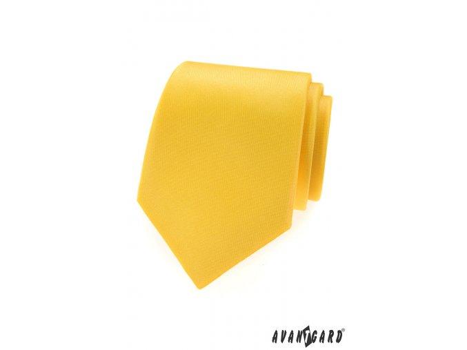 Žlutá matná jednobarevná kravata_