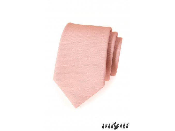 Světle pudrová kravata s hladkým povrchem