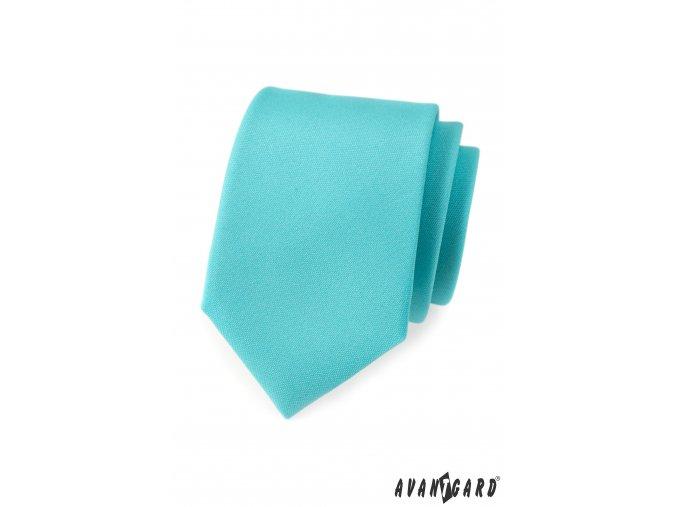 Tyrkysová kravata s hladkým povrchem_