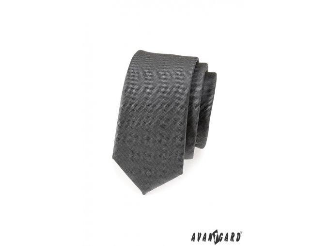 Grafitová slim kravata_
