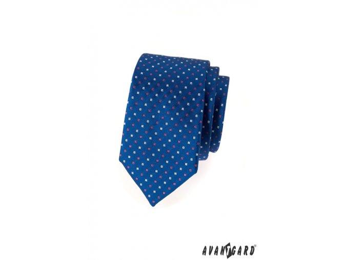 Modrá slim kravata se šikmým vzorem