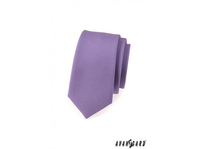 Fialová slim kravata bez vzoru