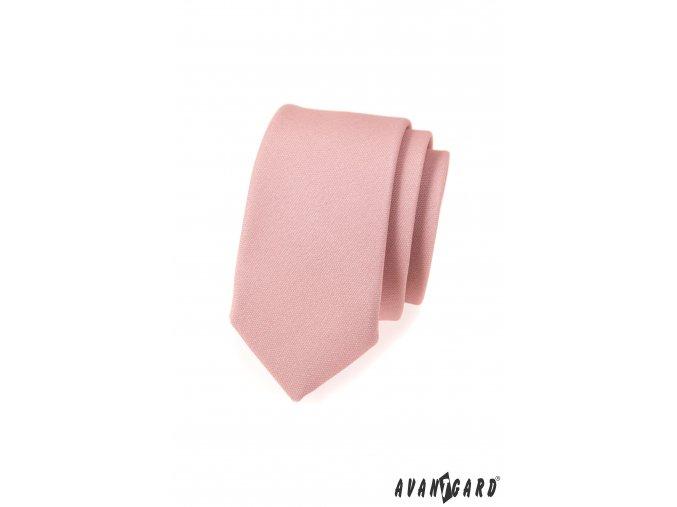 Pudrová slim kravata bez vzoru