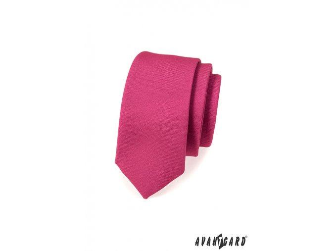 Sytě fuchsiová slim kravata bez vzoru