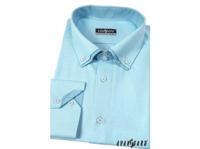 Tyrkysová pánská luxusní košile, dl. ruk., 526-2502_