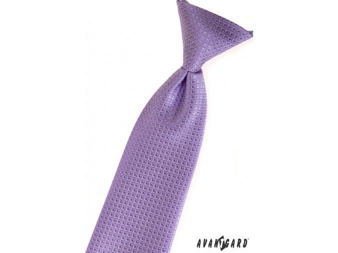 Fialová chlapecká kravata s kostkovaným vzorem