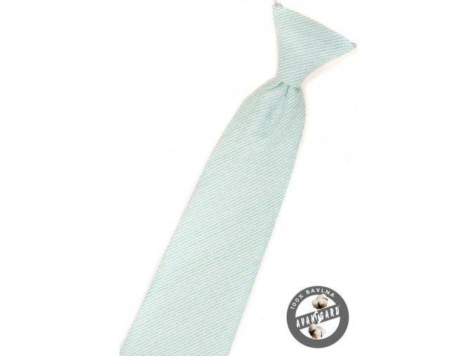 Mátová chlapecká kravata s jemnými proužky