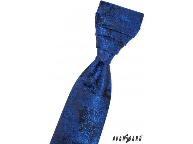 Hlubinně modrá regata se vzorem + kapesníček_