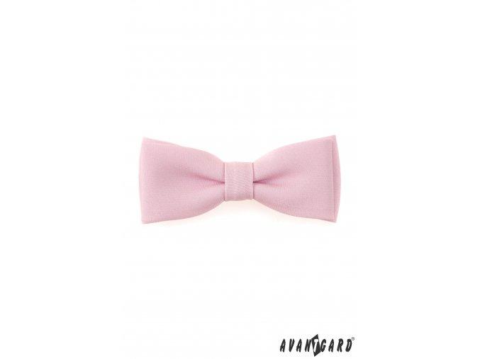 Světle růžový pánský motýlek bez vzoru + kapesníček do saka
