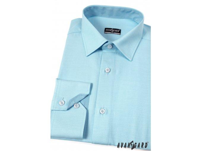 Tyrkysová pánská SLIM košile, dl. ruk., 125-2502_