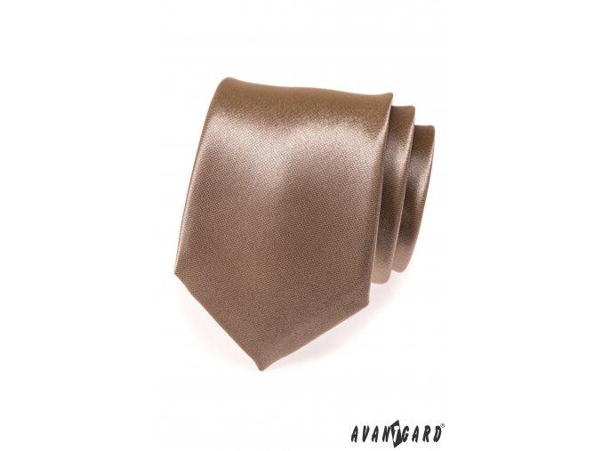 Béžová lesklá kravata_