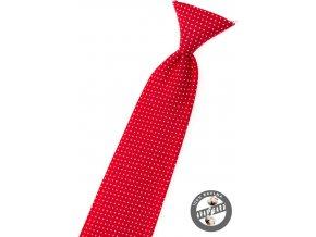 Kravata chlapecká 558-5082 Červená s bílým puntíkem (Barva Červená s bílým puntíkem, Velikost délka 31 cm, Materiál 100% bavlna)