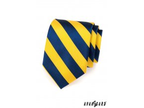 Žlutá kravata se širokými modrými pruhy_