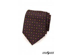 Hnědá kravata s barevnými tečkami
