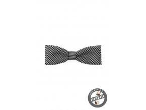 Černo-bílý pánský bavlněný motýlek s puntíky