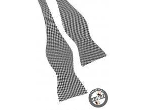 Vázací motýlek bavlněný 603-5087 Černo-bílá (Barva Černo-bílá, Velikost uvázaný cca 12 cm, Materiál 100% bavlna)