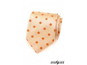 Světle lososová kravata s puntíky