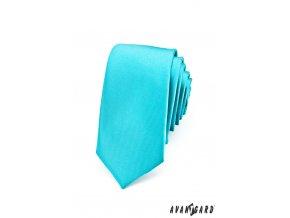 Kravata SLIM AVANTGARD LUX 571-14202 Tyrkysová (Barva Tyrkysová, Velikost 0, Materiál 100% polyester)