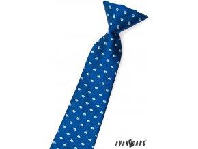 Kravata chlapecká 558-1568 Modrá (Barva Modrá, Velikost délka 31 cm, Materiál 100% polyester)