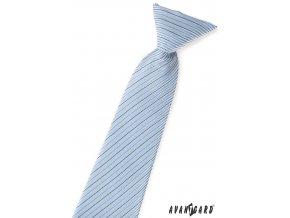 Světle modrá chlapecká kravata s jemnými černými a fialovými proužky
